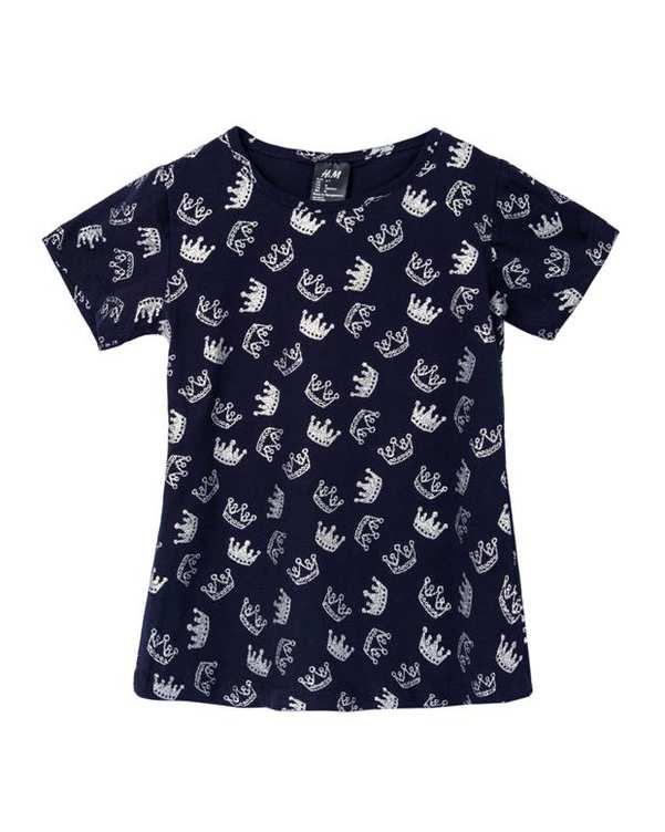 تی شرت دخترانه نخی یقه گرد سرمه ای اچ اند ام