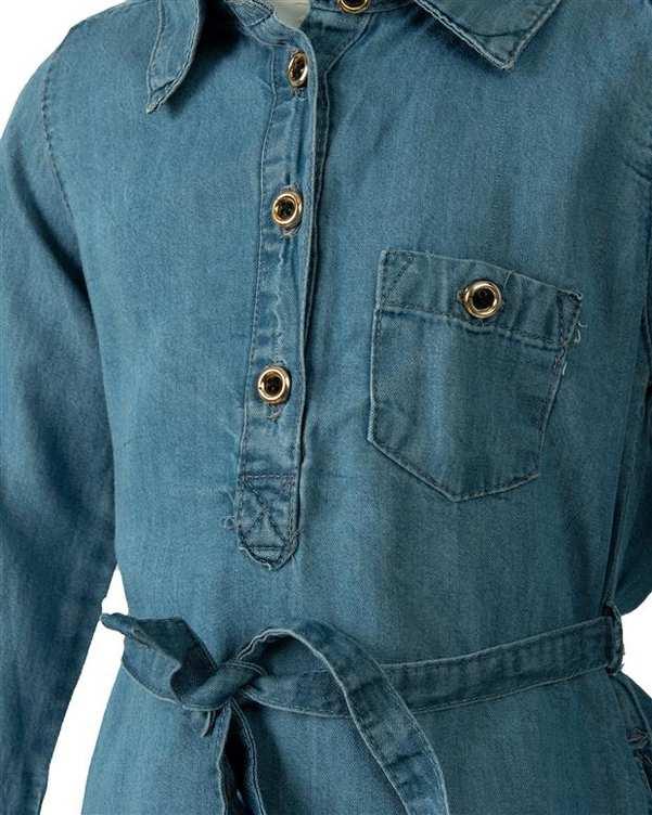 پیراهن دخترانه جین آبی روشن اچ اند ام