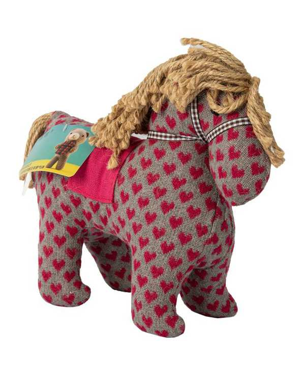عروسک پارچه ای اسب قلب دار طوسی صورتی Kidsland