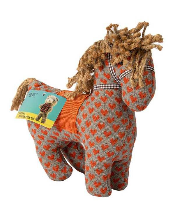 عروسک پارچه ای اسب قلب دار طوسی نارنجی Kidsland