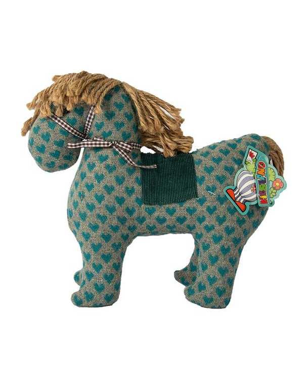 عروسک پارچه ای اسب قلب دار طوسی آبی Kidsland