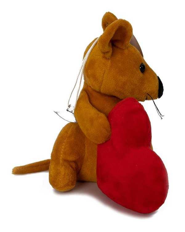 آویز عروسکی پولیشی موش و قلب خردلی قرمز Kidsland