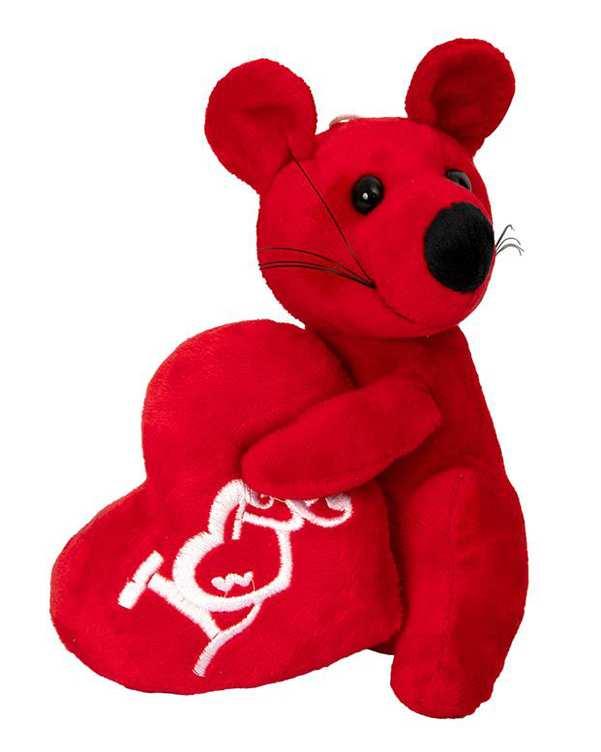 آویز عروسکی پولیشی موش و قلب قرمز Kidsland