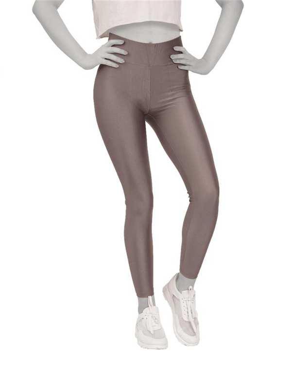 لگینگ زنانه ورزشی کمر پهن مدل 24035 خاکی براق آگی