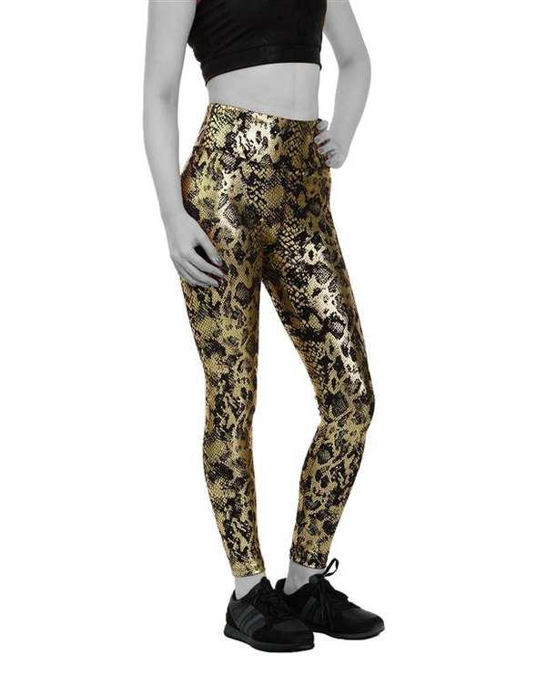 لگینگ زنانه ورزشی کمر پهن مدل 24663 مشکی طلایی پوست ماری آگی