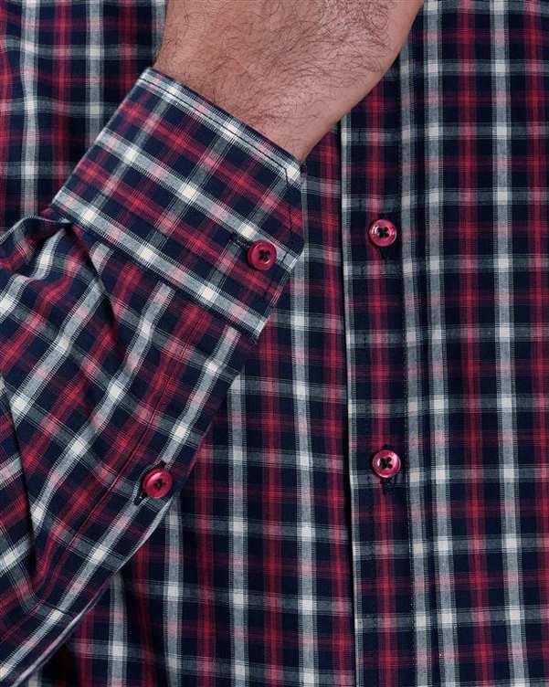 پیراهن مردانه نخی سرخابی سرمه ای چهارخانه ماسیمو دوتی