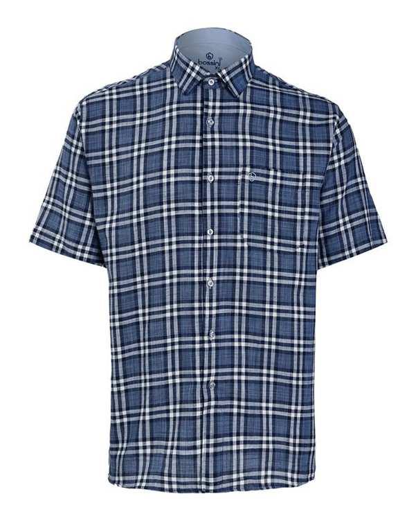 پیراهن مردانه آستین کوتاه آبی سفید چهارخانه بوسینی