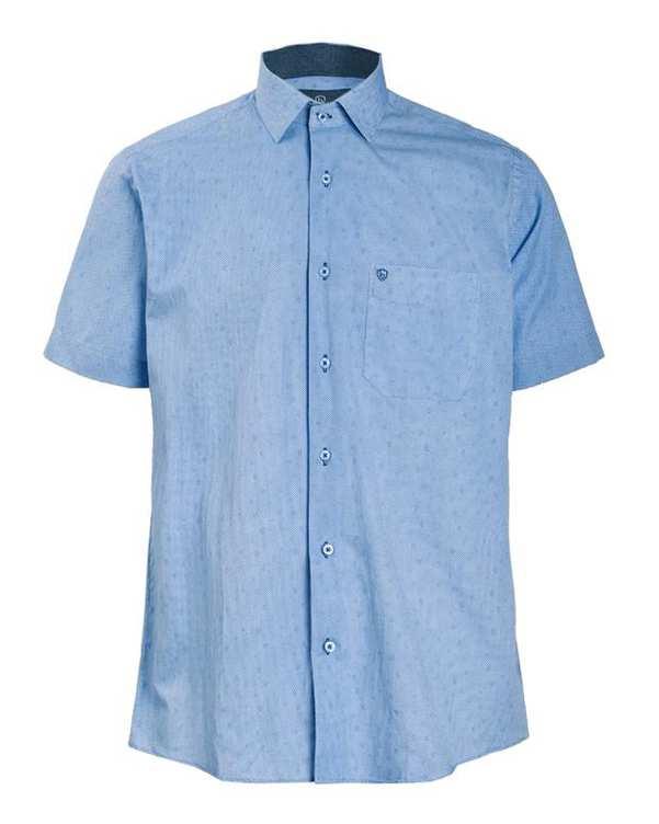 پیراهن مردانه آستین کوتاه آبی بوسینی