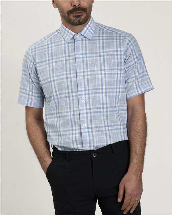پیراهن مردانه آستین کوتاه آبی روشن چهارخانه بوسینی