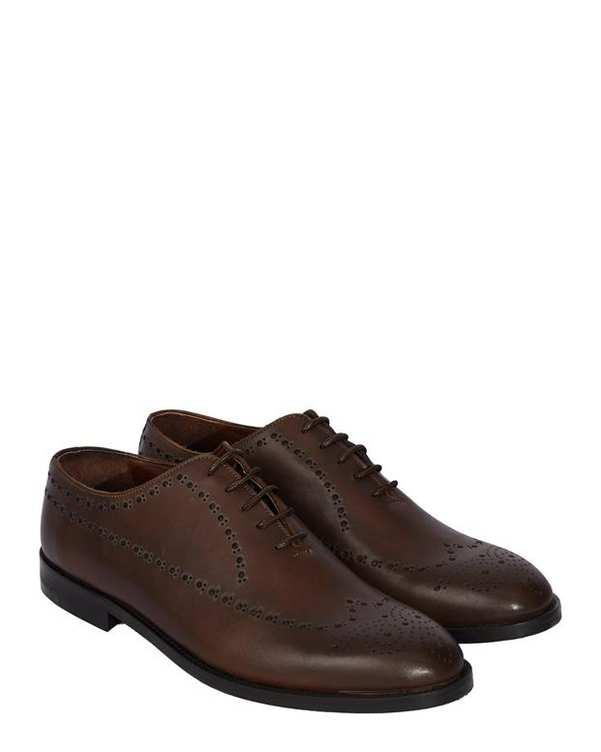 کفش چرم مردانه رسمی هشت ترک قهوه ای ارمنگیلدو زگنا