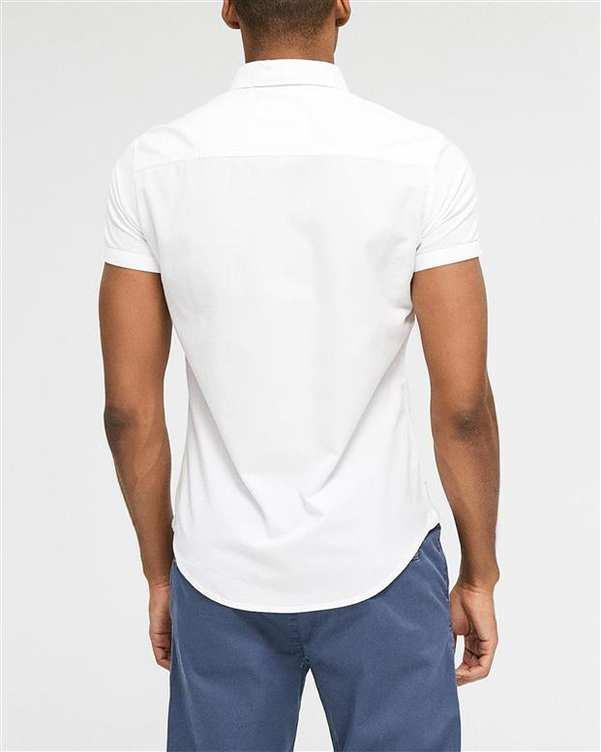 پیراهن مردانه نخی آستین کوتاه سفید دایورس
