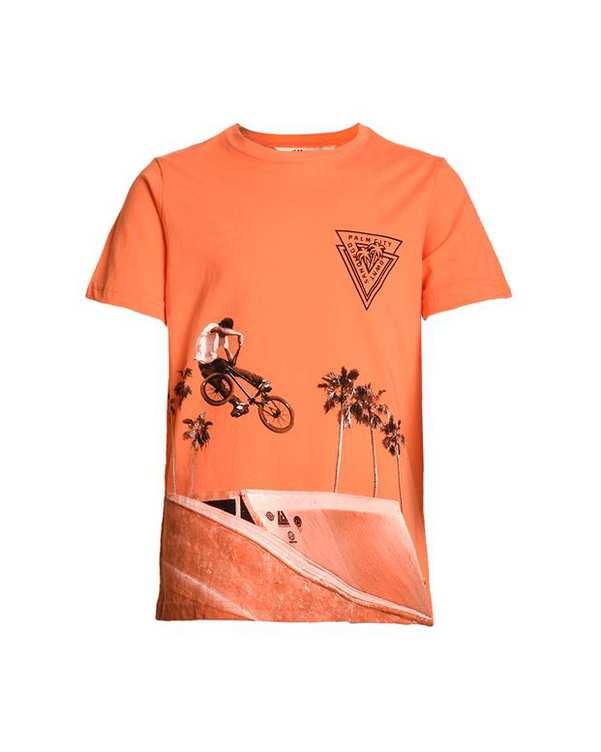 تی شرت پسرانه يقه گرد نخی مرجانی اچ اند ام