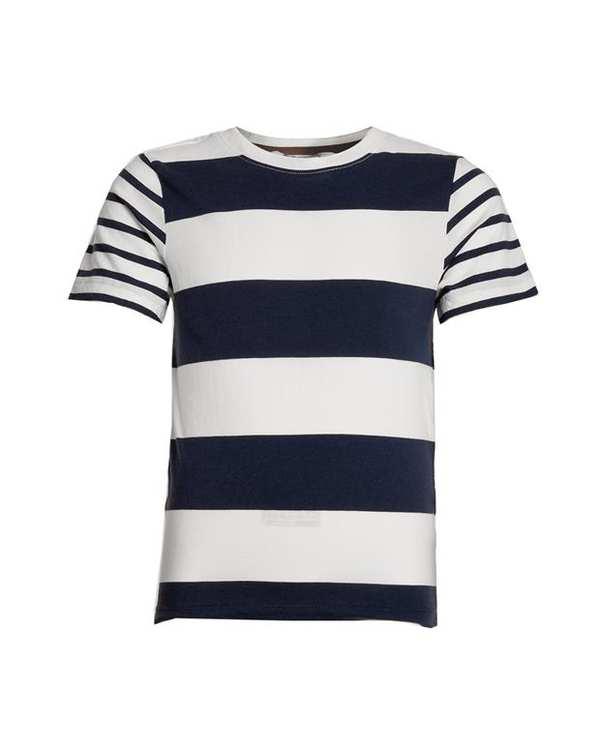 تی شرت پسرانه يقه گرد نخی سرمه ای سفید راه راه اچ اند ام