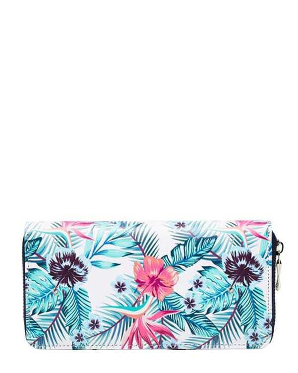 کیف پول زنانه سفید سبز گلدار مودو