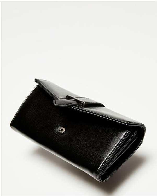 کیف پول زنانه مشکی براق مودو
