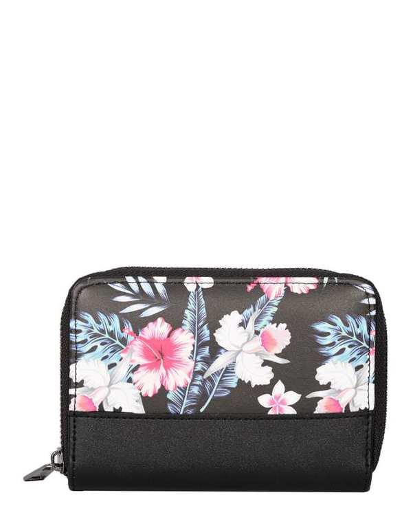 کیف پول زنانه مشکی گلدار مودو