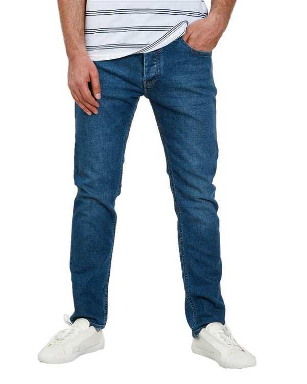 شلوار مردانه جین آبی تیره اچ پلاس
