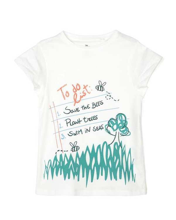 تی شرت دخترانه نخی یقه گرد سفید زیپی