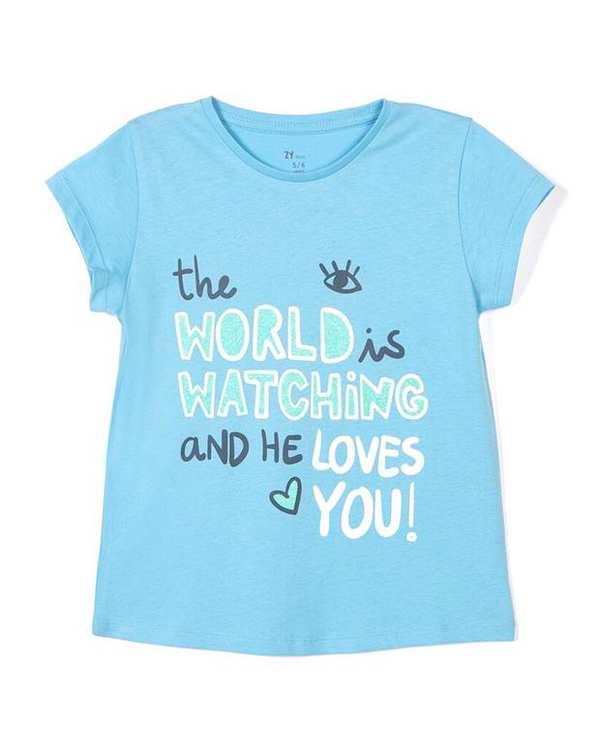 تی شرت دخترانه نخی یقه گرد آبی زیپی