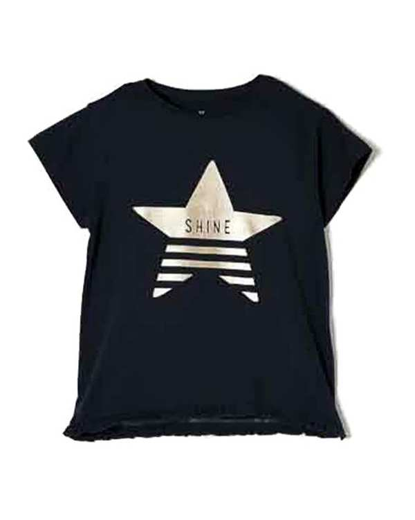 تی شرت دخترانه نخی یقه گرد سرمه ای زیپی