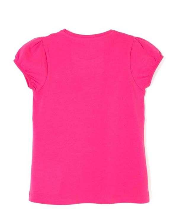 تی شرت دخترانه نخی یقه گرد سرخابی زیپی