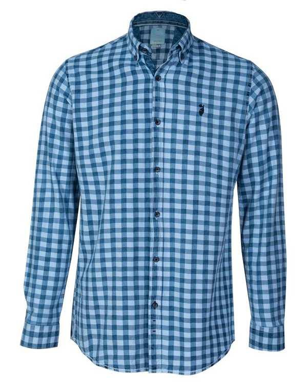 پیراهن مردانه جین آبی چهارخانه ابرا