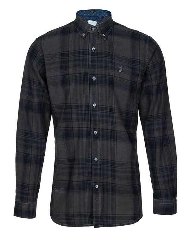 پیراهن مردانه کتان زغالی مشکی چهارخانه ابرا