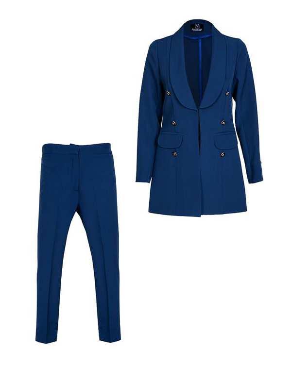 ست کت و شلوار زنانه آبی کاربنی لئو دیزاین