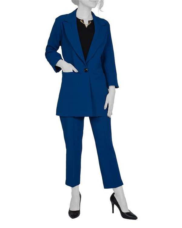 ست کت و شلوار زنانه آبی کاربنی آیلار