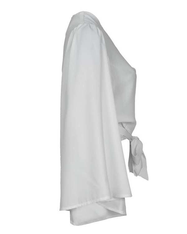 رویه لباس زنانه حریر آستین کلوش سفید آیلار