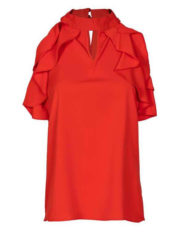 تاپ زنانه حریر یقه ایستاده قرمز گوجه ای آیلار
