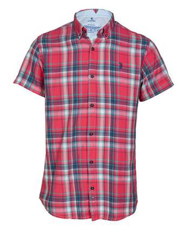 پیراهن مردانه آستین کوتاه نخی صورتی چهارخانه ابرا