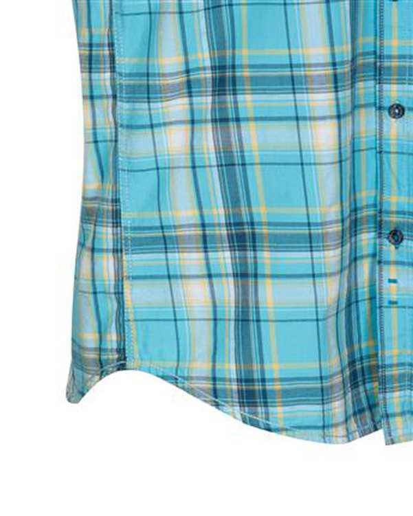 پیراهن مردانه آستین کوتاه نخی آبی چهارخانه ابرا