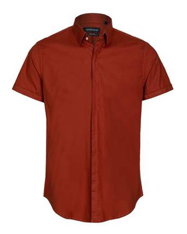 پیراهن مردانه کتان آستین کوتاه آجری تیره ابرا