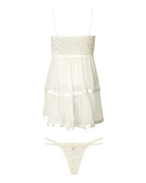لباس خواب زنانه حریر بندی سفید ان بی بی
