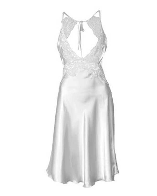 لباس خواب زنانه ساتن پشت گردنی سفید ان بی بی