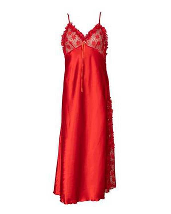 لباس خواب زنانه ساتن بندی قرمز ان بی بی