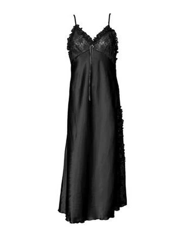 لباس خواب زنانه ساتن بندی مشکی ان بی بی