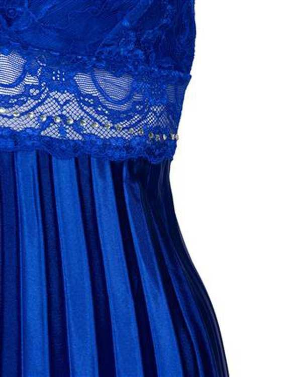 لباس خواب زنانه بندی ساتن پلیسه آبی کاربنی ان بی بی
