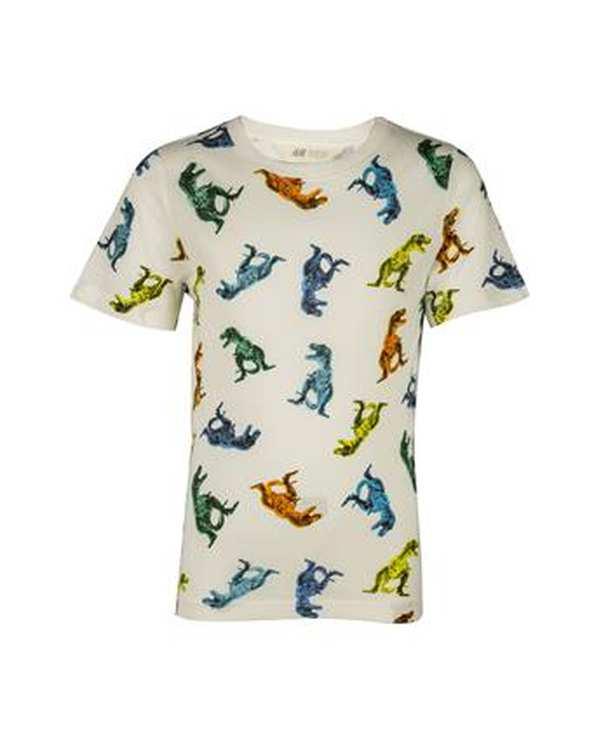 تی شرت پسرانه نخی یقه گرد سفید اچ اند ام
