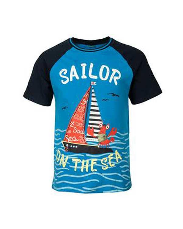 تی شرت پسرانه نخی یقه گرد آبی