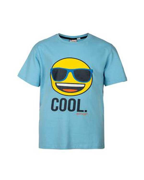 تی شرت پسرانه نخی یقه گرد آبی اموجی