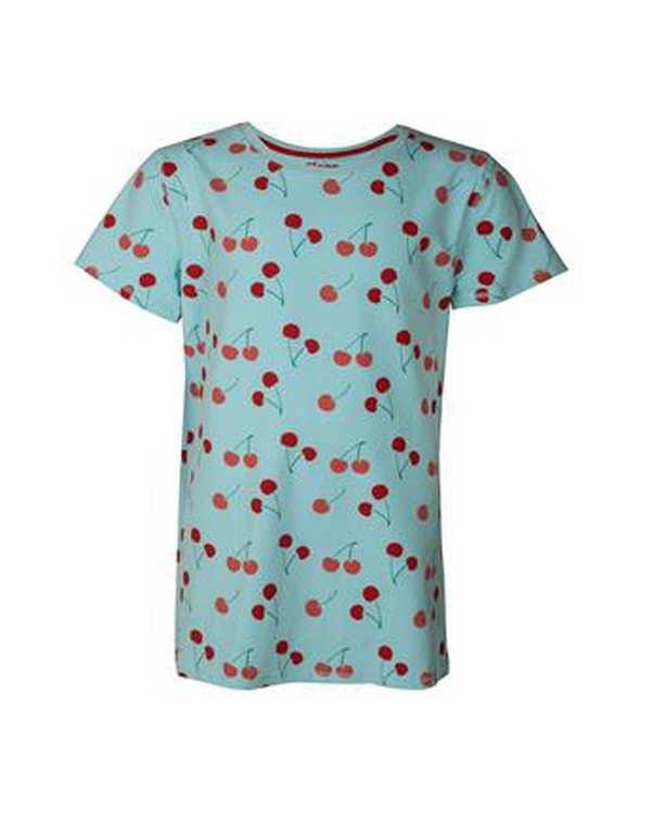 تی شرت دخترانه يقه گرد نخی آبی اسلیپ