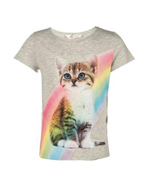 تی شرت پسرانه نخی یقه گرد طوسی اچ اند ام