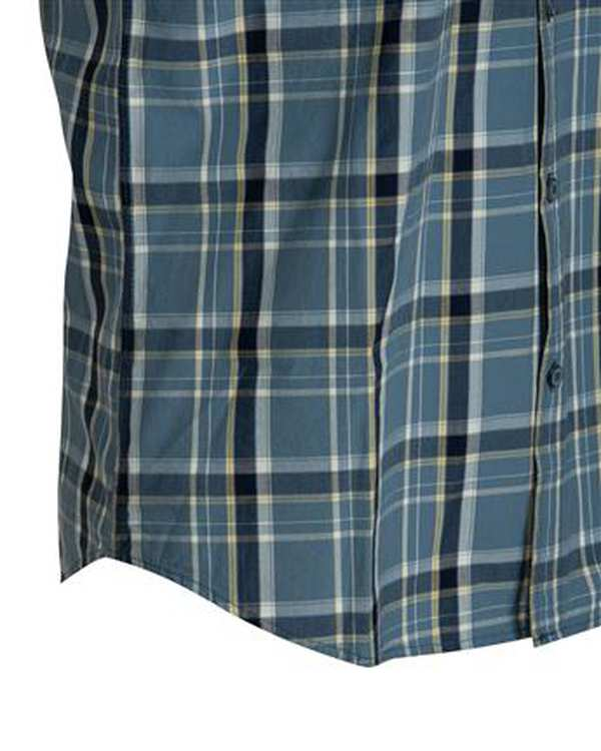 پیراهن مردانه آستین کوتاه نخی آبی طوسی چهارخانه اچ پلاس