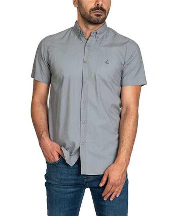 پیراهن مردانه کتان آستین کوتاه طوسی اچ پلاس