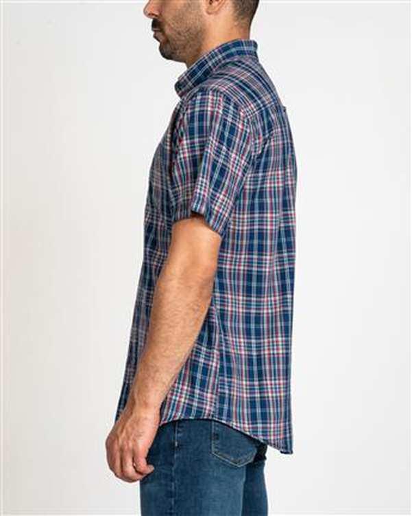 پیراهن مردانه جین آستین کوتاه سرمه ای قرمز چهارخانه اچ پلاس