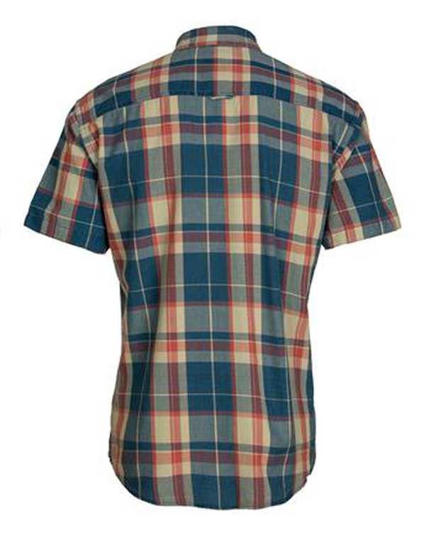 پیراهن مردانه جین آستین کوتاه آبی کرم چهارخانه اچ پلاس