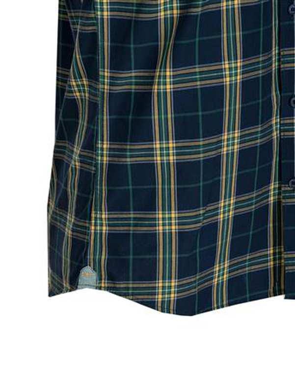 پیراهن مردانه آستین کوتاه نخی سرمه ای سبز چهارخانه اچ پلاس