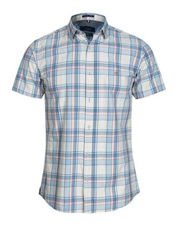 پیراهن مردانه آستین کوتاه نخی آبی چهارخانه اچ پلاس